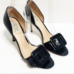 Oscar De La Renta Black Patent Leather Peep toe 8